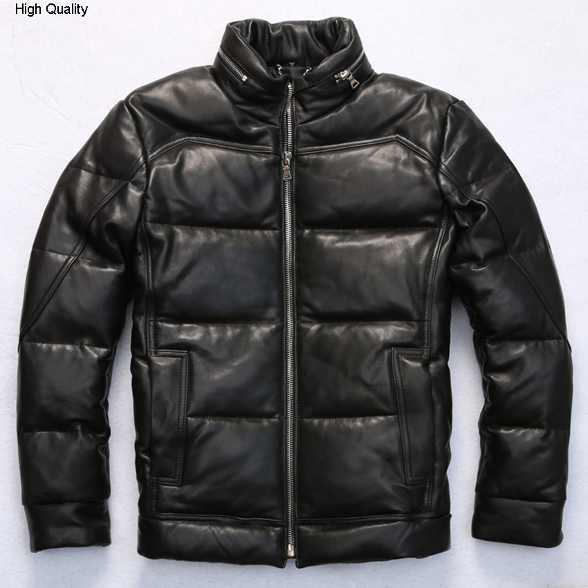 Men's Winter White Duck Down Coat Black Thick Sheepskin Coat 2015 Casual Real Leather Down Jacket Men Winter Leather Jacket