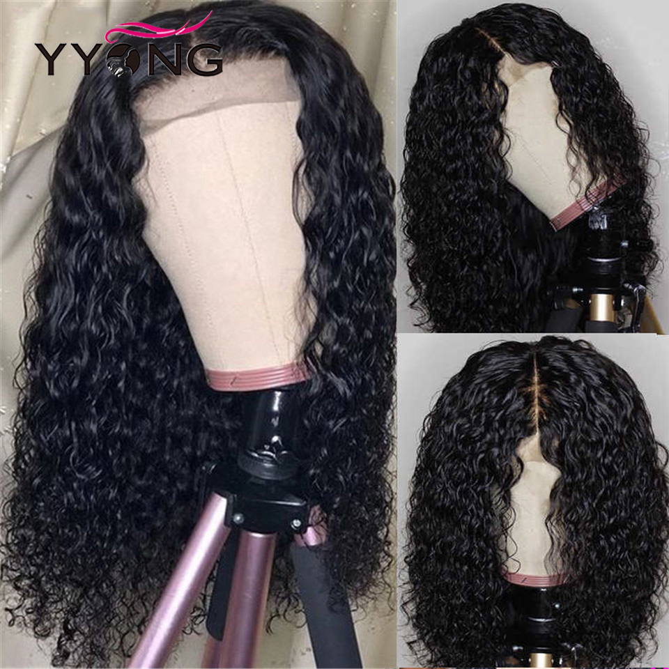 YYong 1x4& 1x6 T Part HD Transparent Lace  Wig  Water Wave Lace Part Wigs Natural Hairline  Hair 30 inch 4