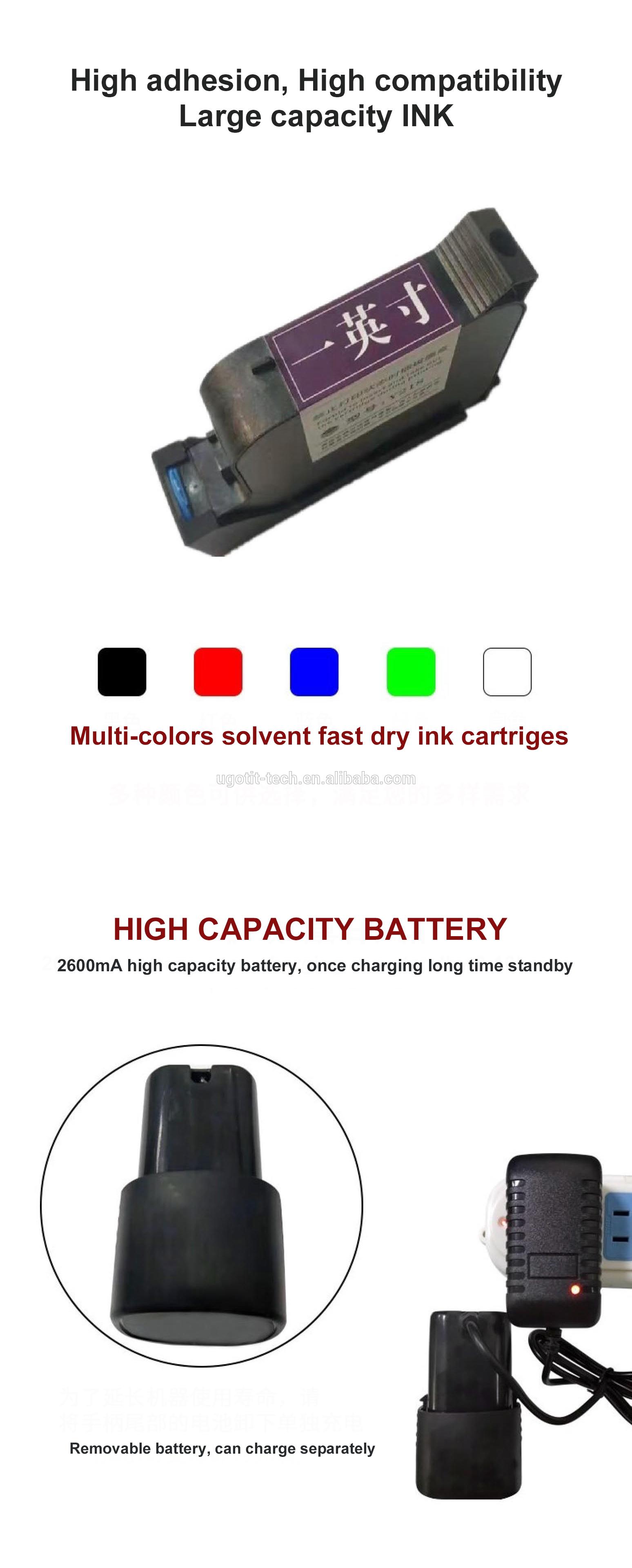 50 mm Word Height 600DPI LED Screen Intelligent Inkjet Printer Handheld Spray Coding Machine