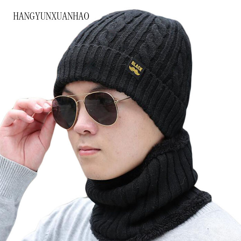 Scarf Winter Hat Skullies Beanies Gorras Bonnet Beanie For Men Women Brand Men Warm Woolen Hats Male Knitted Black Cap Hat