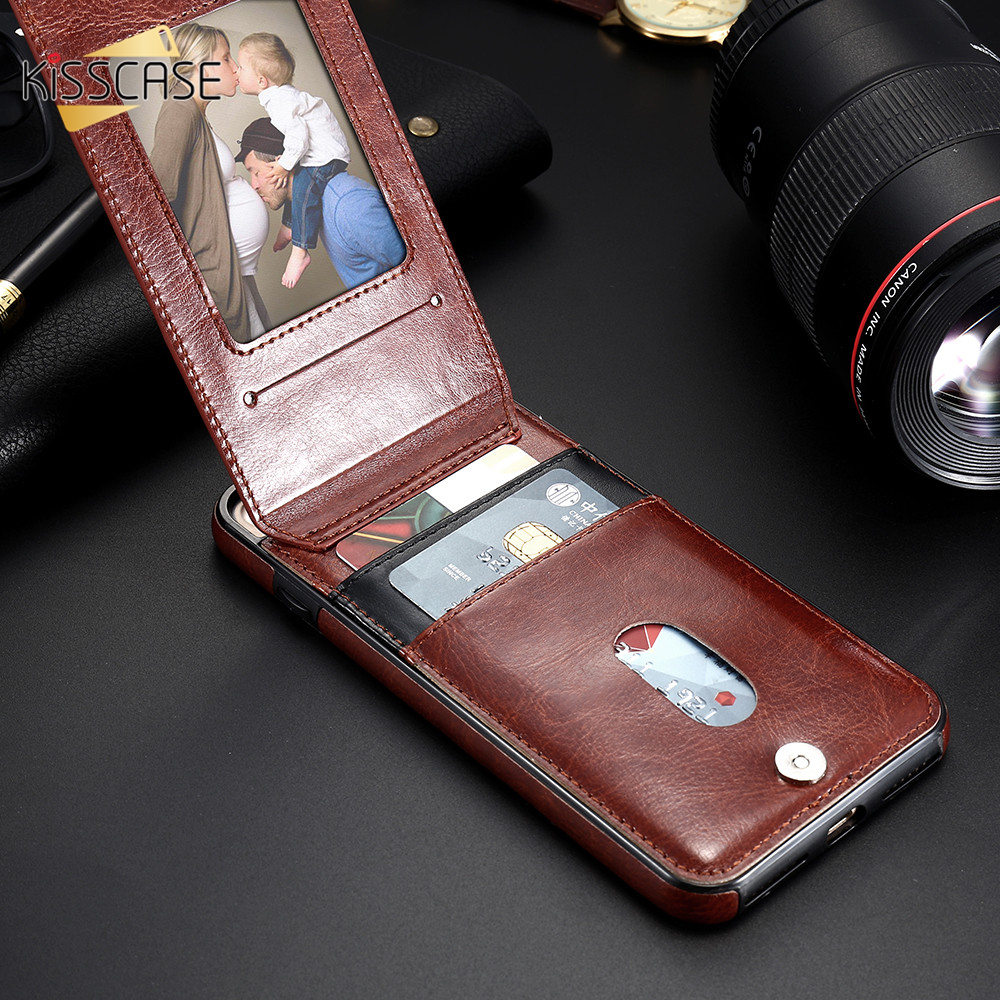 H73a25b1559e245b4b6170029617259f6n KISSCASE Vertical Flip Card Holder Leather Case For iPhone 6s Cover For iPhone 7 Wallet Case 8 XR 11PRO MAX 11 чехол на айфон 6s