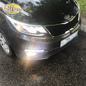 Image 1 - SNCN 2PCS LED Daytime Running Light For Kia Rio K2 2015 2016 Yellow Turn Signal Relay Waterproof ABS 12V DRL Fog Lamp Decoration