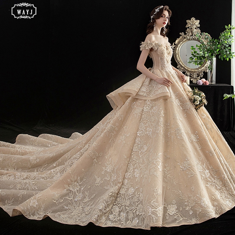 WAYJ New Wedding Dress Off-The-Shoulder Long Champagne Big Tail Lace Applique Beaded Princess Dream Luxury Church Wedding Gowns