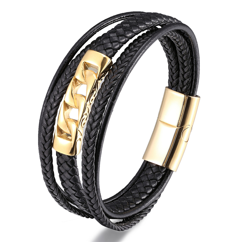 MKENDN Multilayer Punk Style Design Genuine Leather Bracelet for Men Steel Magnetic Button Christmas Gift Male Bracelets