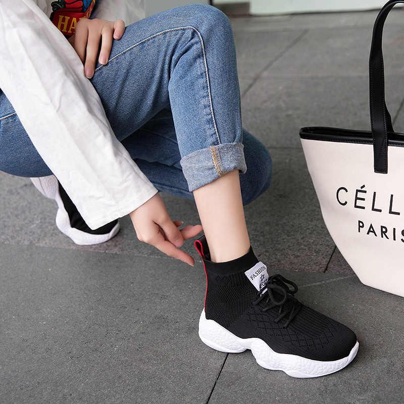 Трикотажные эластичные высокие кроссовки; женская дышащая обувь на толстой подошве; носки; черные кроссовки на платформе 4 см; 2019