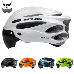 GUB K80 PLUS Cycling helmet integrally molded bike helmets 17 air vents magnet adsorption goggle PC EPS material a pair lenses