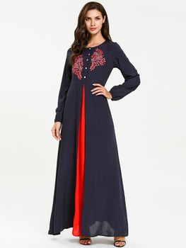 Morocco 4XL size women's clothing indian long kurti embroidered front open muslim dress pakistani clothes islamic clothing