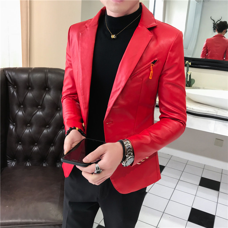2020 Men's Leather Blazer Men's Black High Quality Fashion Designer Leather Jacket Blazer Men's Club Clothing Leather Jacket