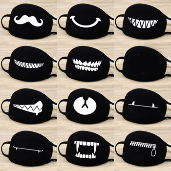 1Pc Funny Teeth Cotton Dust Masks Warm Cartoon Anime Face Mouth Mask Unisex banquet cosplay Mouth Halloween protective Dustproof image