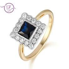 Anéis de noivado doce romântico ouro cor safira anéis para mulher 925 prata vintage jóias aniversário festa presentes natal