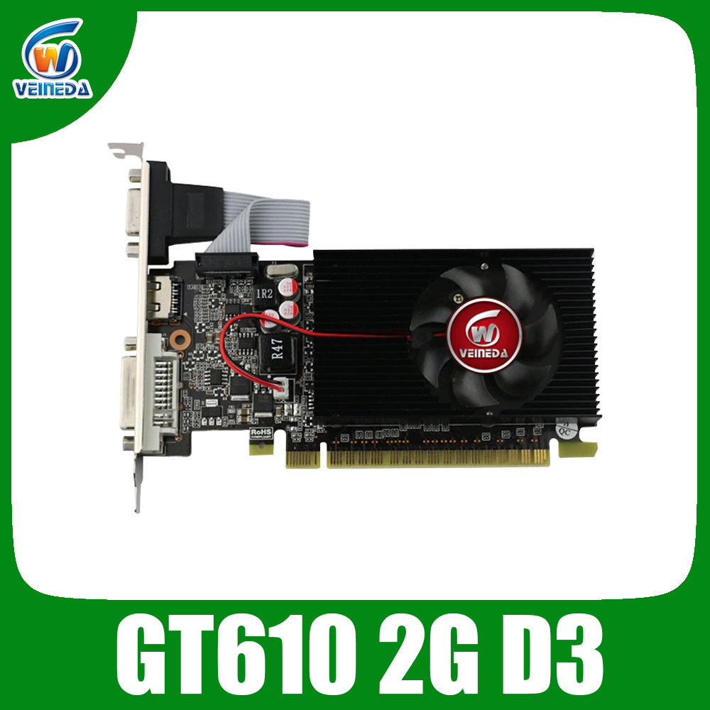 VEINIDA graphics card GT610 display vga cards 2GB DDR3 700/1000MHz for <font><b>nVIDIA</b></font> Geforce Game PC image