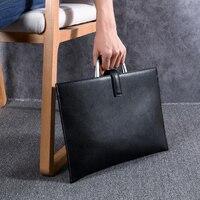 Wmnuo 2020 Bag Men Thin Business Briefcase Shoulder Bag Cow Genuine Leather Men Handbag Laptop Bag Big Capacity Best Sale