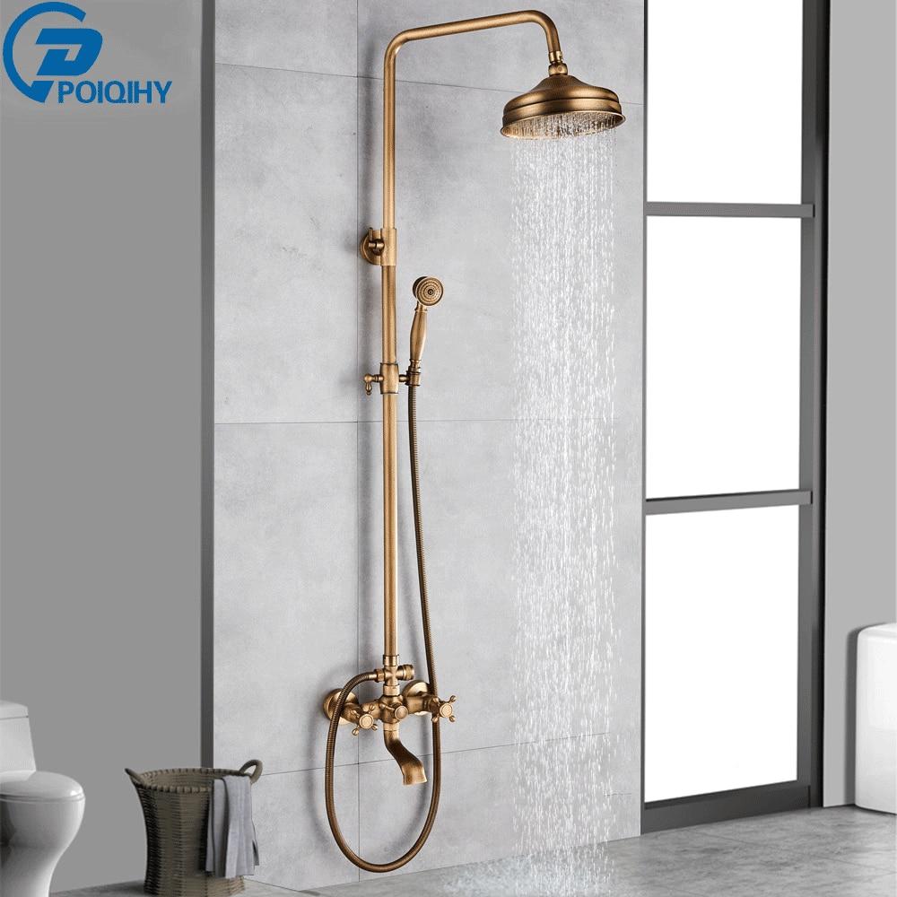 POIQIHY Antique Shower Set Wall Bathroom Bath Shower Faucet Rainfall Brass Swivel Spout Mixer Tap Sliding Bar Shower System