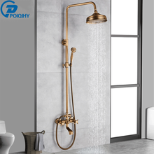 Mixer Tap Faucet Shower-Set Brass Bathroom POIQIHY Antique Sliding-Bar Swivel-Spout Wall