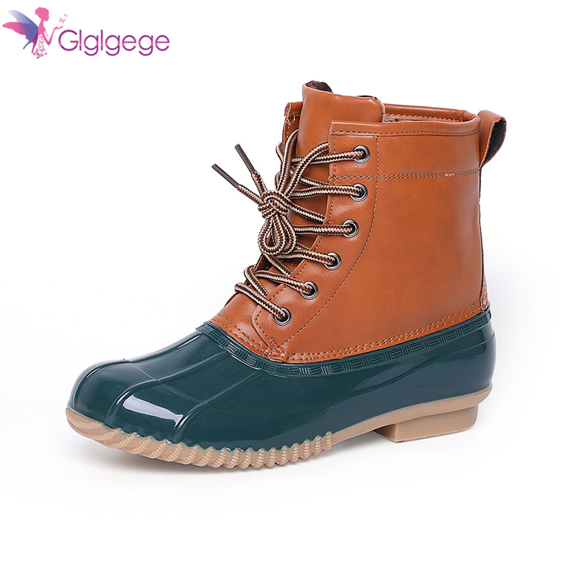 Cheap Glglgege 2019 fashion boots in the help of women's rainboots new ski fashion Women Lace-up shoes rainy waterproof shoes