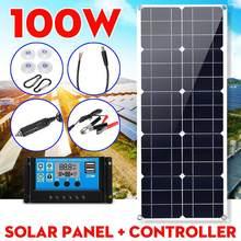 Painel solar 100w 18v dupla usb painel solar carregador de bateria controlador de acampamento caminhadas monocristalino célula solar barco carro casa