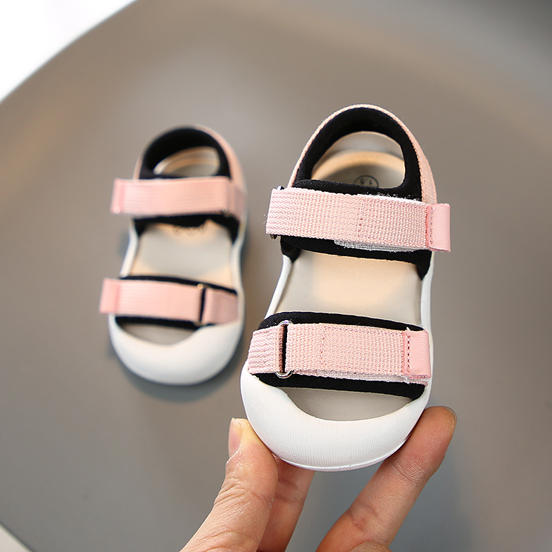 11.5-15Cm Infant Boys Girls Sandals Mesh Soft Sole Baby Summer Shoes Pink Black Closed Toe Toddler Sandals For 0-3Years Old Kids