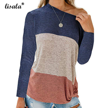 LISALA 2019 Fashion Color Block Top Long Sleeve T Shirt Women Round Neck Cotton T-shirt color block single pocket t shirt