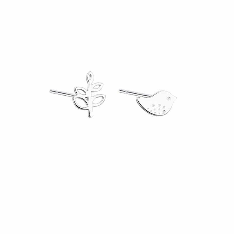 925 Sterling Silver Anting-Anting Burung Cabang Sterling Silver Anting-Anting untuk Wanita Fashion Indah Asymmetric Telinga STUDS Perhiasan