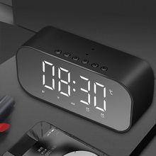 new Bluetooth Speaker with FM Radio LED Mirror Alarm Clock Subwoofer Music Player Snooze Desktop Clock Wireless(China)