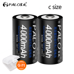 PALO 1-12 Pcs C Size Rechargeable Battery Type C LR14 Battery 1.2V NI-MH 4000mAh Low Self Discharge Rechargeable C Battery