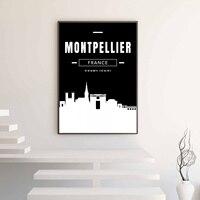 Montpellier Skyline Da Cidade Mapa Cartaz Da Lona Impressão Home Decor No Frame
