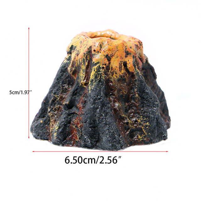 1pc Aquarium Volcano Shape & Air Bubble Stone Oxygen Pump Fish Tank Ornament Green Resin Non-toxic Fish & Aquatic Pet Supplies 6