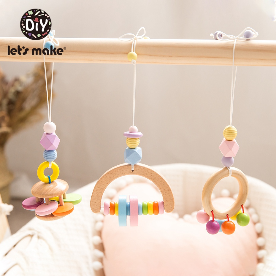 Let's Make 1pc Colorful Baby Rattle Beech Pendant Infant Baby Educational Toys Baby Comfort Tool Stroller Accessories