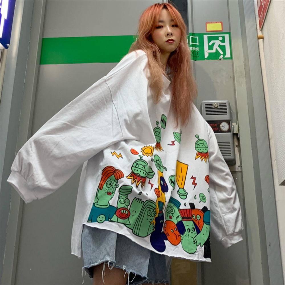 Women Cartoon Autumn Sweatshirt Harajuku Frog Print Hoodie Tops Female Casual Cute White Hoodie Streetwear Female Kawaii Hoodies