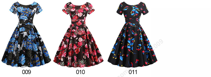 Summer Floral Print Elegant A-line Party Dress Women Slim White Short Sleeve Swing Pin up Vintage Dresses Plus Size Robe Femme 211