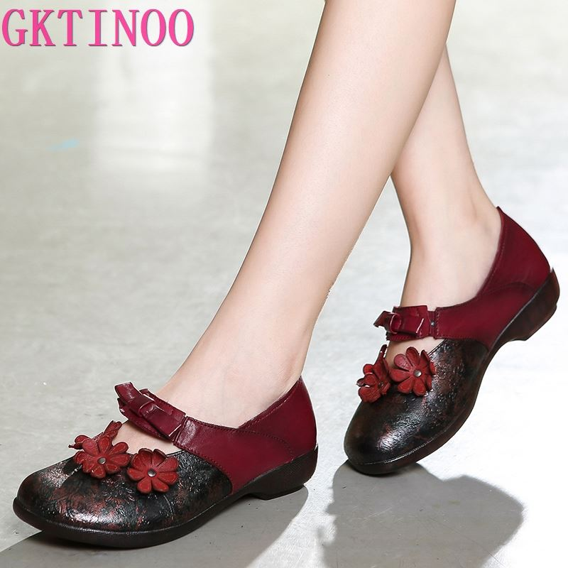 GKTINOOO Original Genuine Leather Shoes Women 2019 Spring New Retro Casual Shoes Breathable Handmade Flowers Women Flat Shoes