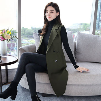 2020 New Spring Sleeveless Vest Women Elegant Office Ladies Tops Casual Long Vest Female Waistcoat Women Plus Size 4xl A191 1