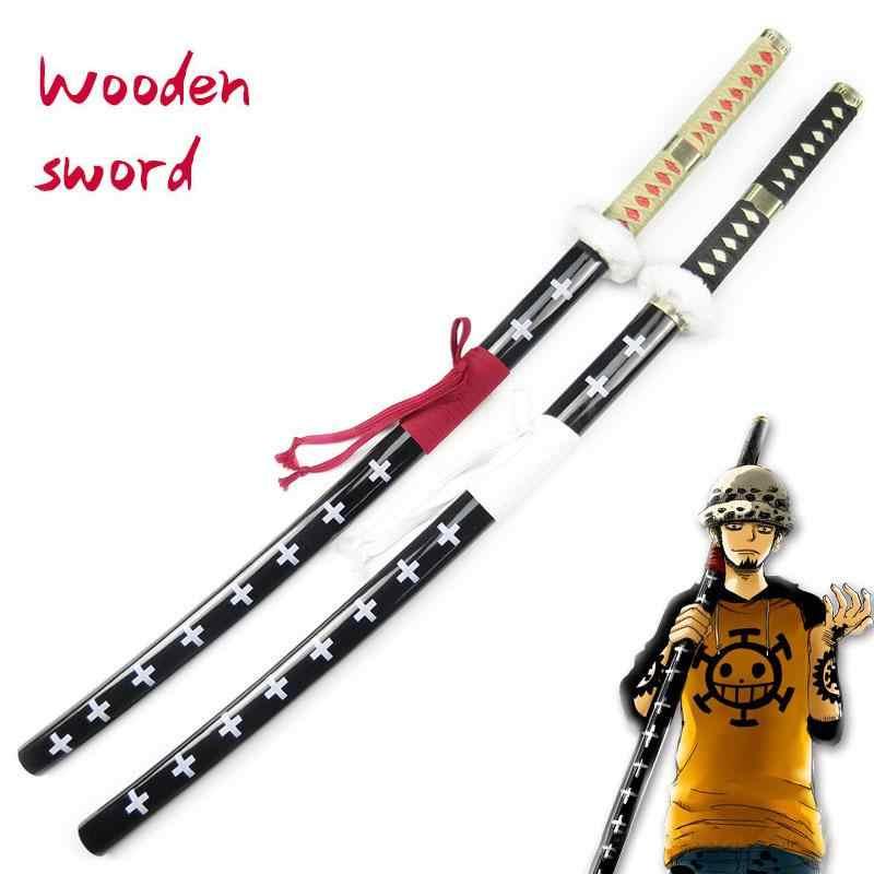 Tek parça ahşap kılıç bıçak silah Trafalgar hukuk Anime Cosplay Ninja Katana Samurai Nihontou Espada kılıç Prop oyuncaklar gençler için