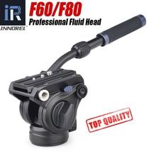 INNOREL F60/F80 비디오 유체 헤드 전문 카메라 삼각대 유체 드래그 팬 헤드 DSLR 카메라 캠코더 망원 렌즈