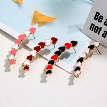 Cender New Cute Vintage Colorful Enamel Heart Long Stud Earrings Multicolor Earring For Women Fashion Geometric Jewelry
