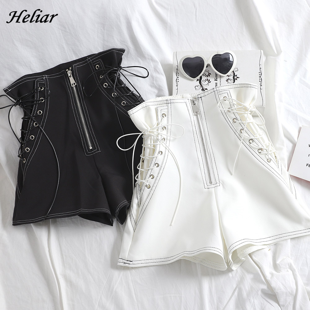 HELIAR PU Leather Shorts For Women Cross Bandage Short Fashion High Street Solid PU Shorts Slim Sexy Ripped Shorts Women 2020