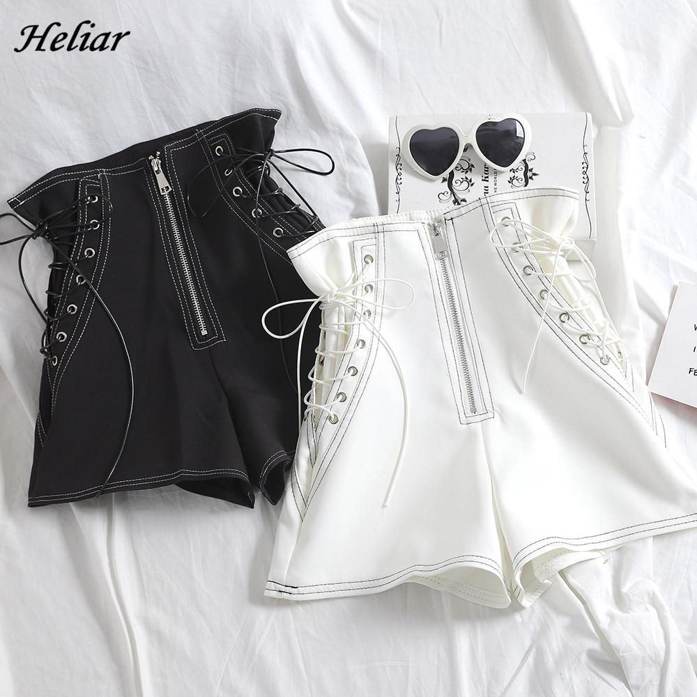 HELIAR PU Leather Shorts For Women Cross Bandage Short Fashion High Street Solid PU Shorts Slim Sexy Ripped Shorts Women 2020