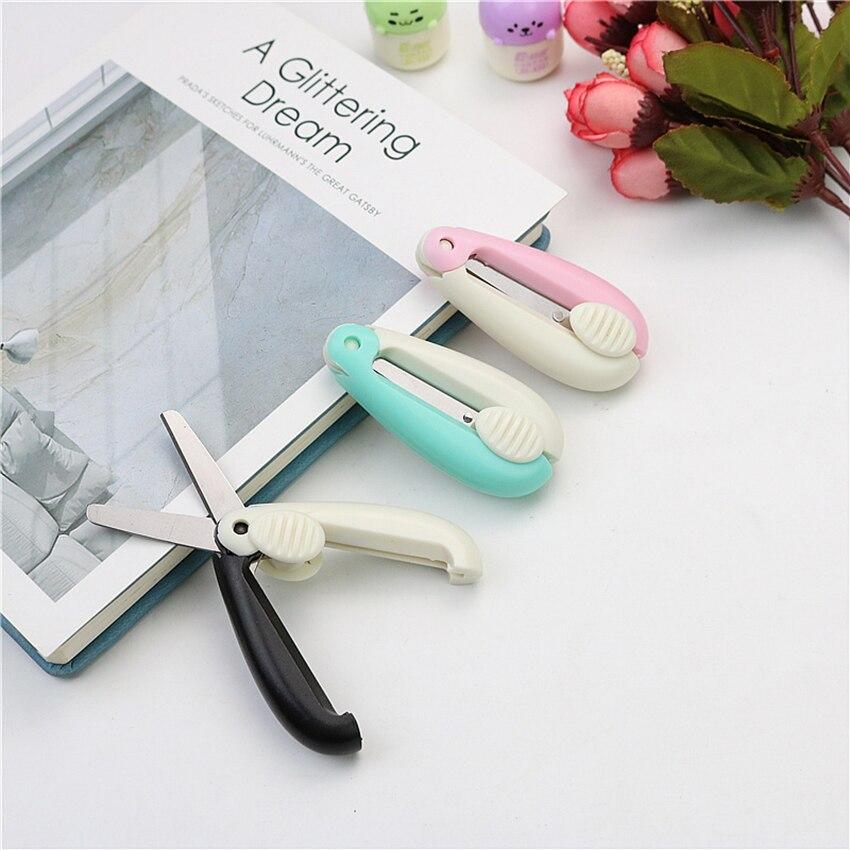 Push-pull Mini Folding Scissors Portable & Foldable Travel Scissors Cutter Pocket Paper String Craft Shred Scissors Stationery