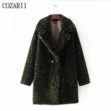 winter coat women Warm Leopard print faux fur long sleeve thick teddy Outwear jacket lady