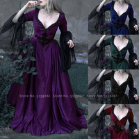 Victorian Women Elf Princess Queen Palace Party Formal Dress Halloween Medieval Carnival Retro Gothic Vampire Cosplay Costumes