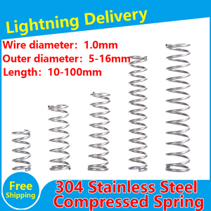 Stainless Steel Compression Spring 304 SUS Compressed Spring Wire Diameter 1.0mm Y-type Rotor Return Spring 10PCS