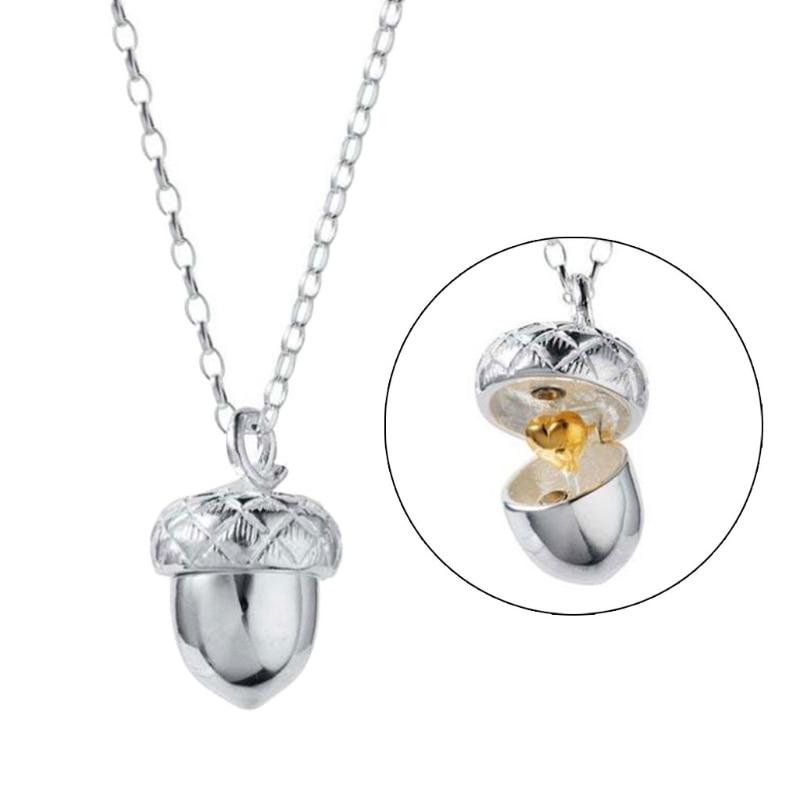 Acorn Pendant Necklace Can Open Pinecone Pendant Cone Box Pendant Women Heart Acorn Charm Pendant Women Fashion Jewelry