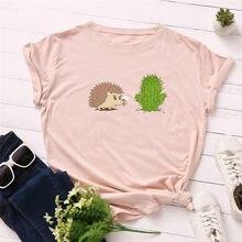Размера плюс футболки S-5XL милый кактус печати футболки женский 100% хлопковая футболка для девочек с круглой горловиной и короткими рукавами ...