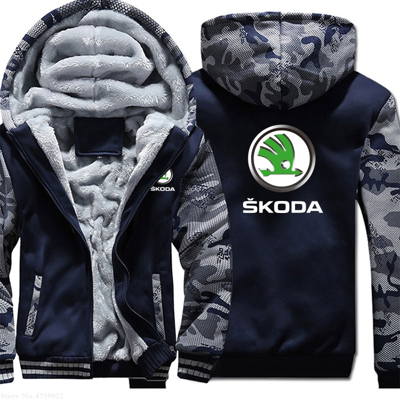 M-5XL Plus Velvet Thicken Male Skoda Sweatshirt Men Winter Coat Plus Size 5 Colours Jackets