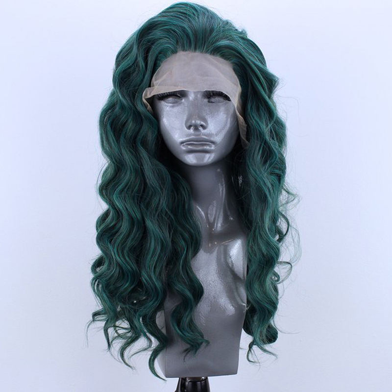 QUINLUX WIGS Dark Green Long Body Wave Synthetic Lace Front Wigs For Women With Free Part Glueless Heat Resistant Fiber Hair