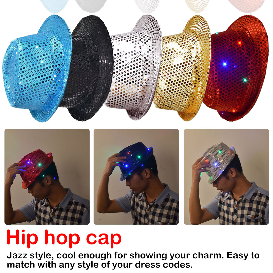 Flashing Light Up Led Brilliant Glitter Sequin Colorful Sequin Unisex Fancy Dress Jazz Dance BirthdayParty Hat Casquette