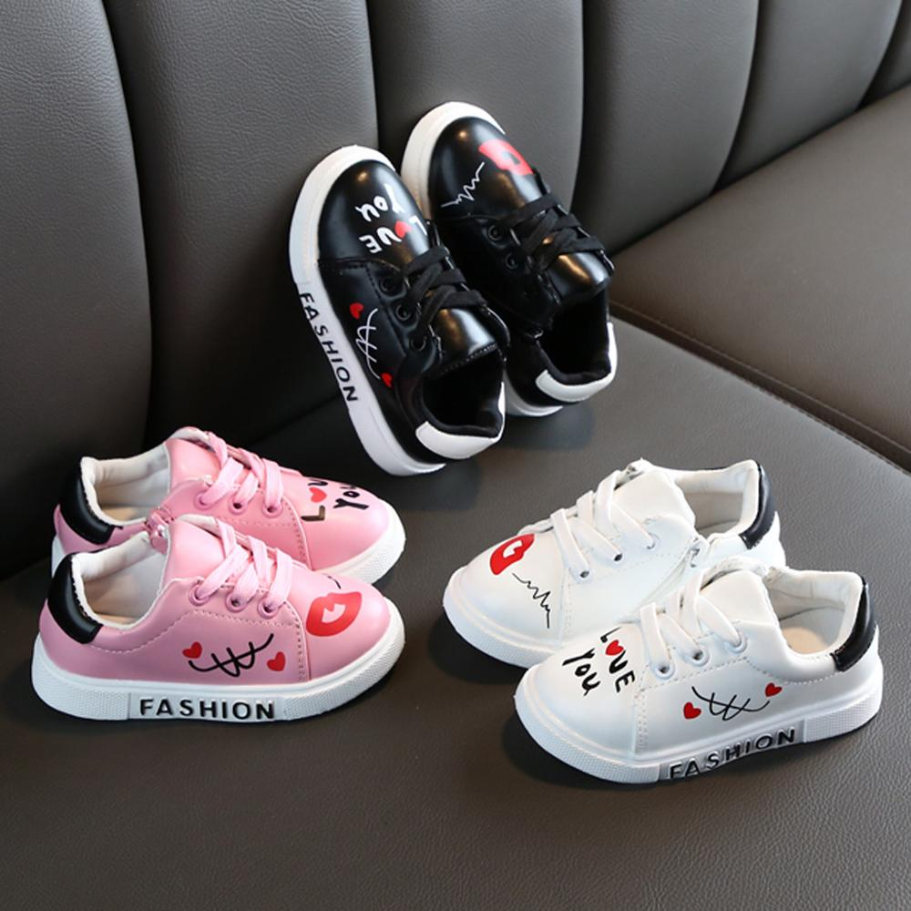 Toddler Kids Baby Boys Girls Sneakers Breathable Sport Shoes Cute Casual Letters Shoes Kids High Quality Shoes 21-36