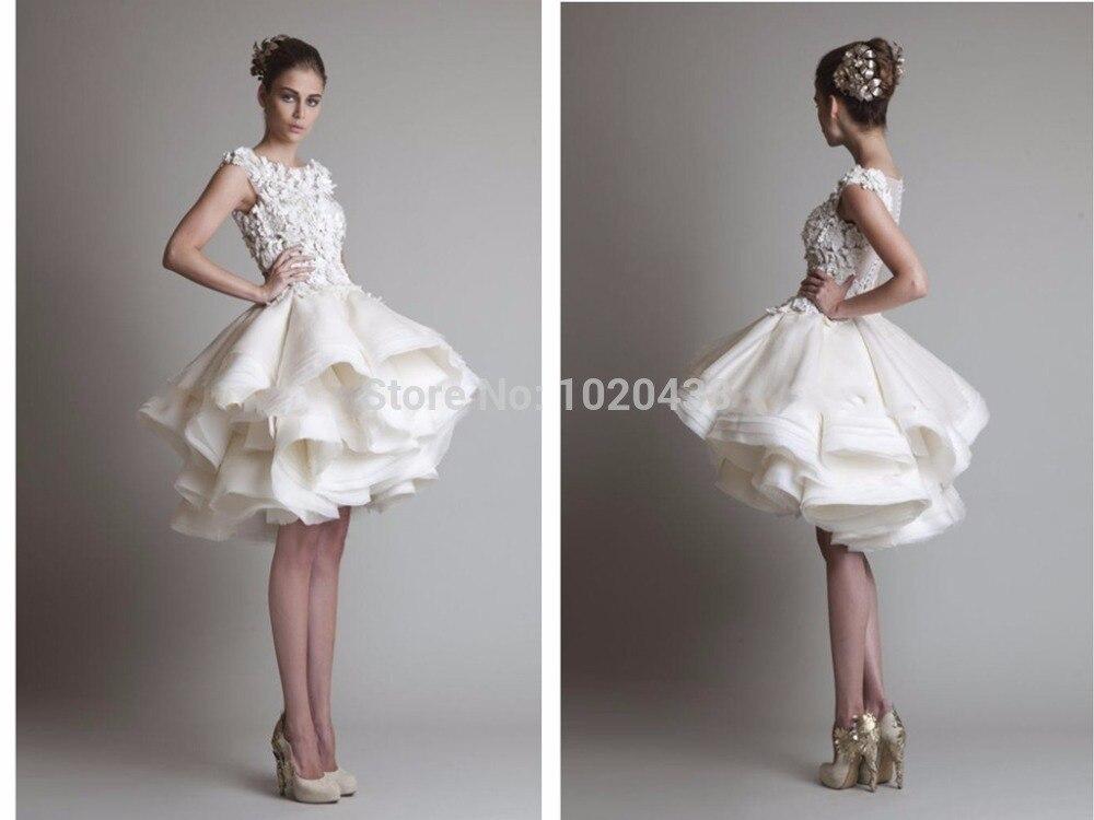 Free Shipping Vestido De Noiva 2015 Knee-Length Lace Wedding Dress Organza Ruffle Casual Short Bridal Ball Gown Applique Trimmed