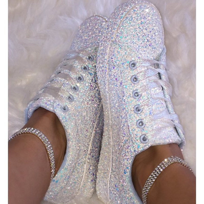 2020 Women Vulcanize Shoes Sneakers Bling Shoes Girl Glitter Sneakers Casual Female Breathable Lace Up Outdoor Sport Shoes