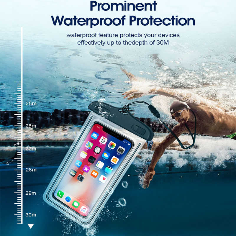 Waterproof Mobile Phone Case For Huawei P20 Pro Mate 20 Lite P30 Pro P10 Luminous Bag Cases For iPhone XS XR X Phone Pouch